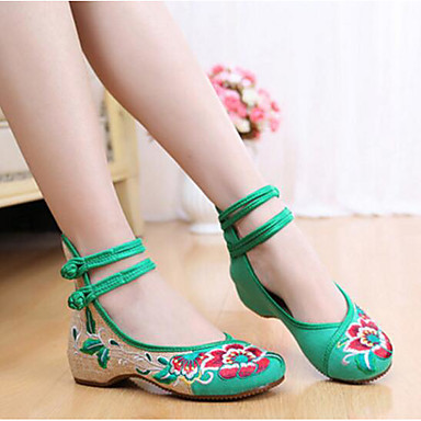 Women's Dance Sneakers Fabric Flats Practice Black Ruby Green