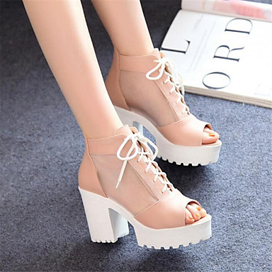 Women's Shoes PU Spring Comfort Sandals Chunky Heel Wedge Heel Stiletto Heel For Casual White Blushing Pink Light Blue