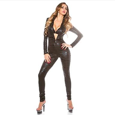 Women's  Zipper Open Crotch Leather Catsuit