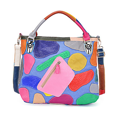 Women's Bags Cowhide Shoulder Bag for Event / Party Casual Formal Office & Career All Seasons Rainbow