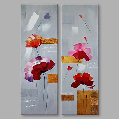 Pintados à mão Abstrato Vertical, Abstracto Moderno/Contemporâneo Tela de pintura Pintura a Óleo Decoração para casa 2 Painéis
