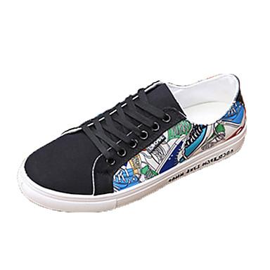 Homens sapatos Couro Ecológico Primavera Outono Conforto Tênis para Ao ar livre Branco Preto Verde Branco/Preto