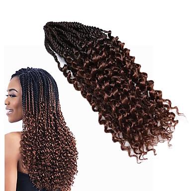 お買い得  ヘアエクステンション-カール 100%カネカロン髪 人毛エクステンション 前のループかぎ針編みの三つ編み 髪の三つ編み 日常