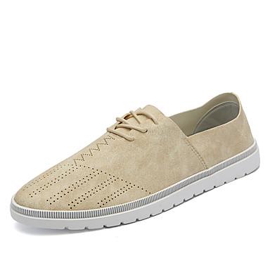 Homens sapatos Couro Primavera Outono Conforto Tênis Poa para Casual Escritório e Carreira Festas & Noite Preto Bege Khaki