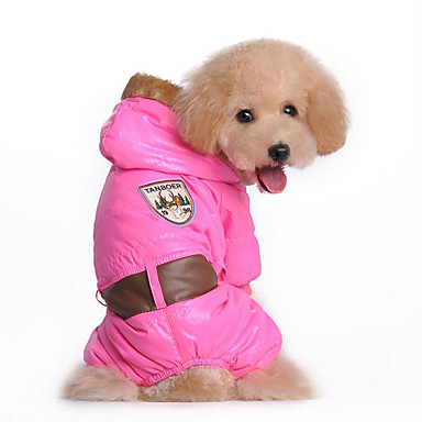 Dog Hoodie Jumpsuit Dog Clothes Solid Colored Blue Pink Cotton Down Costume For Pets Men's Women's Casual / Daily