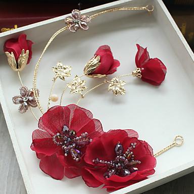 Tulle Rhinestone Fabric Silk Net Alloy Flowers Hair Clip Headpiece