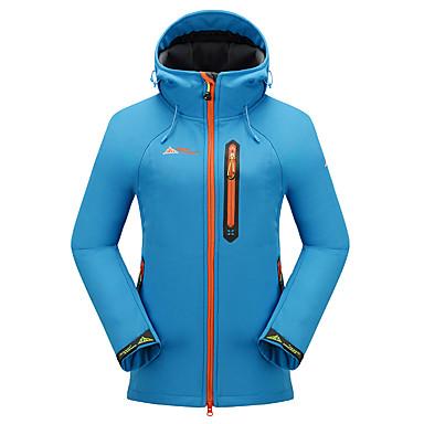 Cikrilan Women's Hiking Softshell Jacket Outdoor Fall / Winter Windproof, Waterproof, Thermal / Warm Fleece Jacket / Top Camping / Hiking, Hunting, Fishing Sky Blue Green Violet / Breathable