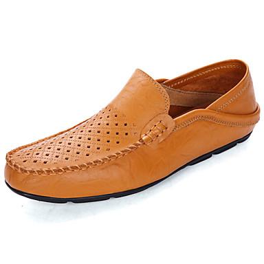 Homens sapatos Couro Ecológico Primavera Verão Conforto Mocassins e Slip-Ons para Casual Preto Amarelo Azul