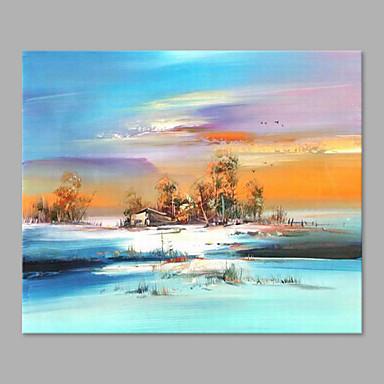 Hang festett olajfestmény Kézzel festett - Landscape Művészi Vászon / Nyújtott vászon