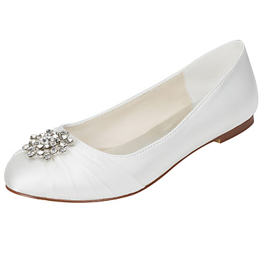 Women's Shoes Stretch Satin Spring / Fall Light Soles Flats Flat Heel Round Toe Crystal Ivory / Wedding / Party & Evening