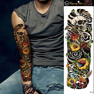 1PC Large Tattoo Waterproof Full Arm Shoulder Temporary Tattoo Skull Super Big Sleeve Tattoo Stickers