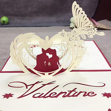 Dobrado no Topo Convites de casamento Cartões de Obrigado Conjuntos de Convites Estilo Coração Papel com Relevo Flor