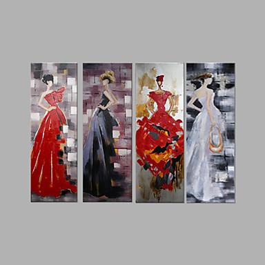 Pintura a Óleo Pintados à mão - Pessoas Abstracto Tela de pintura 4 Painéis