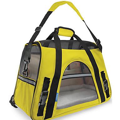 Gato Cachorro Tranportadoras e Malas Animais de Estimação Transportadores Portátil Respirável Dobrável Sólido Estampa Colorida Amarelo