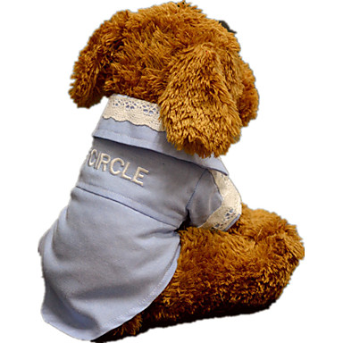 Dog Shirt / T-Shirt Dog Clothes Casual/Daily Lace White Light Blue Grid