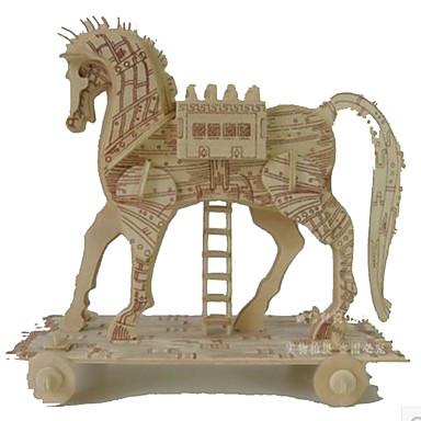 3D Puzzles Jigsaw Puzzle Wood Model Model Building Kit Square Famous buildings Horse Architecture 3D DIY Wood Natural Wood Classic Unisex