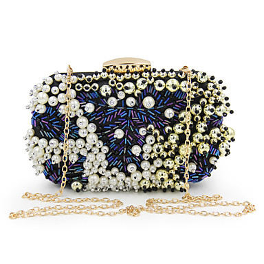 Women's Bags Polyester Evening Bag Beading / Pearls Blue