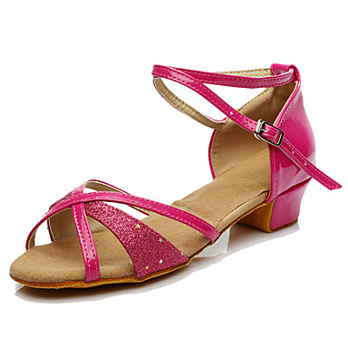 Women's Latin Leatherette Heel Beginner Buckle Low Heel Fuchsia Under 1
