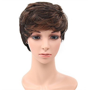 Synthetic Hair Wigs Body Wave Capless Natural Wigs Short Brown