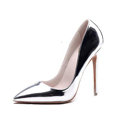 Mulheres Sapatos Courino Verão / Outono Sapatos formais Saltos Salto Agulha Dedo Aberto Tachas / Vazados Dourado / Prata / Casamento