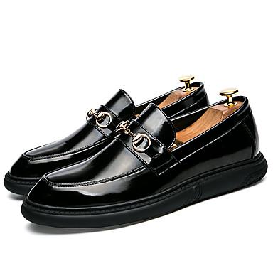 Miehet kengät Synteettinen mikrokuitu PU Kesä Syksy Comfort Valopohjat muodollinen Kengät Mokkasiinit Käyttötarkoitus Kausaliteetti Musta