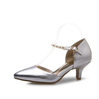 Mulheres Sapatos Couro Ecológico Primavera / Verão Conforto / Inovador / D'Orsay Saltos Caminhada Salto Agulha Dedo Apontado Dourado /