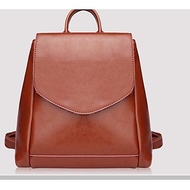 Women's Bags Cowhide Backpack for Casual All Seasons Dark Brown