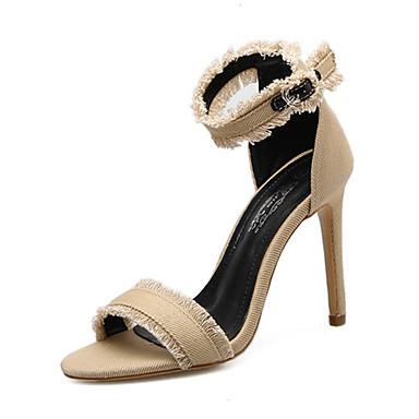 Naiset Kengät Denim Kesä Syksy Uutuus Valopohjat Comfort Sandaalit Stilettikorko Soljilla Käyttötarkoitus Häät Kausaliteetti Juhlat Puku