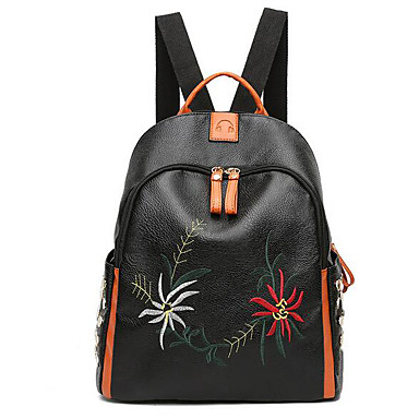 Women's Bags Canvas leatherette Backpack Zipper for Casual Fall All Seasons Black