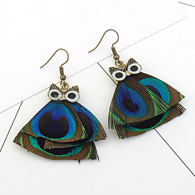 Drop Earrings Women's Euramerican Personalized Punk Owl Feather for Daily Party  Gift Movie Jewelry