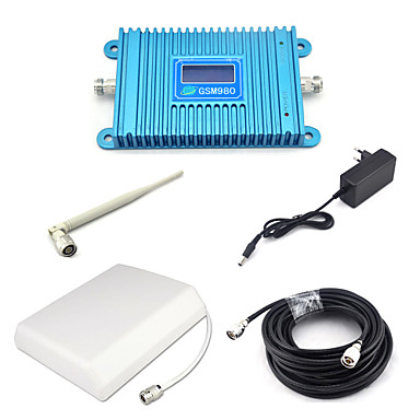 GSM980 GSM 900mhz Signal Booster 2G Signal Repeater Mobile Phone Signal Amplifier with Panel Antenna / Omni Antenna / 15m Cable / Blue
