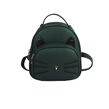 Women's Bags PU Backpack for Casual All Seasons Green Black Blushing Pink Gray