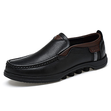 Men's Shoes Nappa Leather Fall Winter Comfort Light Soles Loafers & Slip-Ons For Casual Office & Career Black Brown
