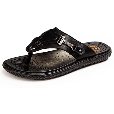 Men's Shoes PU Summer Light Soles Slippers & Flip-Flops Water Shoes for Casual Black Brown