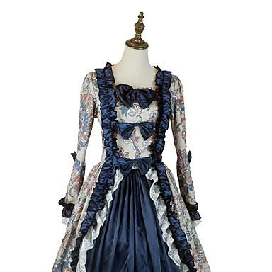 Vintage mønster kjole Victoriansk Kostume Herre Dame Party-kostyme Grå Blå Blæk Blå Vintage Cosplay Polstret Stoff Taft Langermet