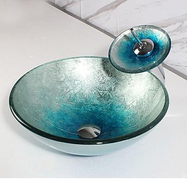 Kortárs Kör Sink Anyag az Üveg Mosdókagyló Fürdőszobai csaptelep Fürdőszobai hézagológyűrű Fürdőszobai lefolyó