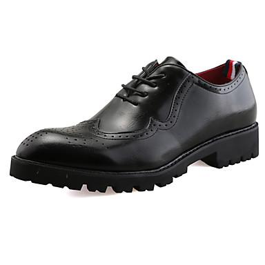 Homens sapatos Couro Ecológico Primavera Outono Solados com Luzes Conforto Oxfords Cadarço para Atlético Preto Castanho Claro Castanho