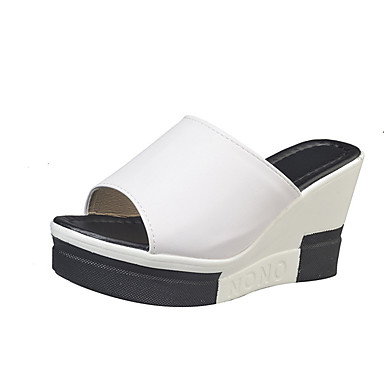 Verano Tacón Negro Zapatos Blanco Sandalias abierta Confort Escoceses PU Primavera Cuados Puntera Mujer Plano 05844774 q4tpw