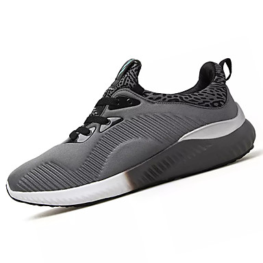 Homens sapatos Couro Ecológico Primavera Outono Solados com Luzes Conforto Tênis Corrida Cadarço para Atlético Preto Cinzento Azul