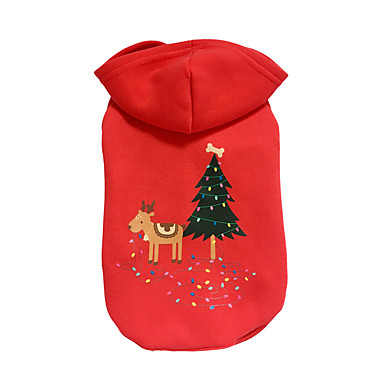 Dog Hoodie Dog Clothes Reindeer Red Cotton Down Costume For Pets Christmas