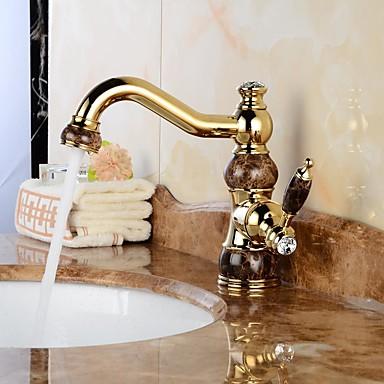 Contemporary Swivel Ceramic Valve One Hole Ti-PVD , Bathroom Sink Faucet