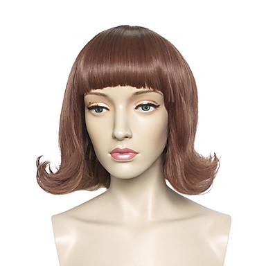 Cabelo Sintético perucas Ondulado Natural Com Franjas Sem Touca Peruca Natural Curto Marrom