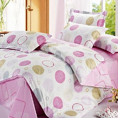 Polka Dot 4 Piece Cotton Cotton 1pc Duvet Cover 2pcs Shams 1pc Flat Sheet