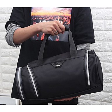 Men Travel Bag Oxford Cloth Polyester All Seasons Casual Outdoor Cylinder Zipper Blue Black Red
