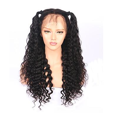 Naisten Aitohiusperuukit verkolla Aidot hiukset 180% Tiheys Syvä laine 360° etuosa Peruukki Musta Lyhyt Keskikokoinen Pitkä 100%