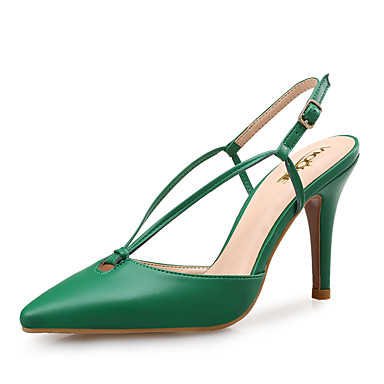 Women's Shoes Leather Spring / Summer Novelty Sandals Pointed Toe Navy Blue / Green / Almond / Party & Evening / Party & Evening