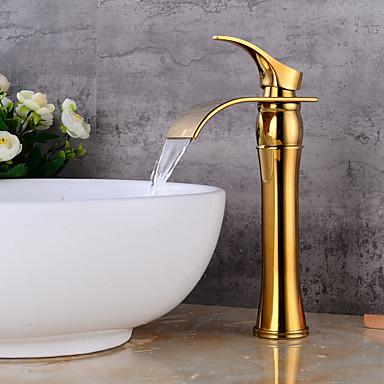 Lightinthrbox Torneiras Banheiro Sprinkle® - Moderna Dourado Cascata Uma Abertura