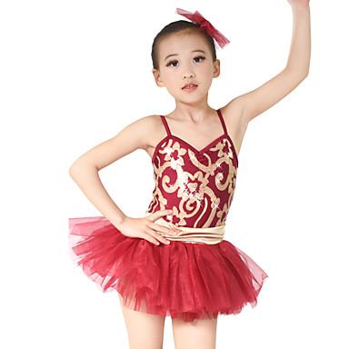 Kids' Dancewear Dresses Performance Polyester Tulle Sequined Lycra Tier Paillette Sleeveless Natural Dress Headwear