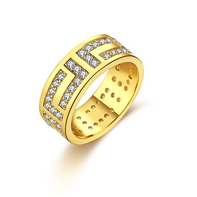 Women's Ring Cubic Zirconia Gold Silver Zircon Copper Silver Plated Gold Plated Geometric Irregular Personalized Luxury Geometric Unique
