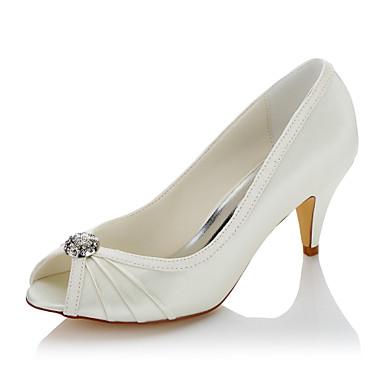 Women's Shoes Satin Summer Fall Comfort Heels Cone Heel Peep Toe Rhinestone for Wedding Party & Evening Beige